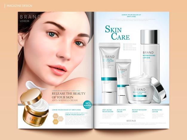Design di riviste per la cura della pelle, set di cosmetici con affascinante ritratto di modello in illustrazione 3d, modello di brochure di riviste o cataloghi