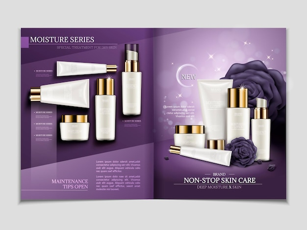 Modello di rivista per la cura della pelle, set di cosmetici serie umidità in illustrazione 3d, design tono viola con contenitore bianco
