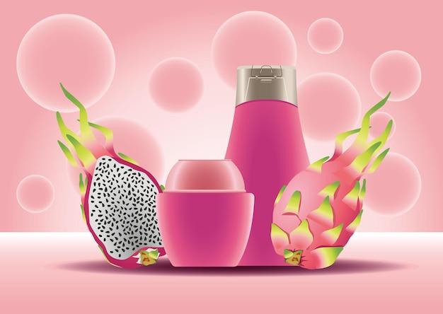 Pentola per la cura della pelle e prodotti rosa bottiglia e illustrazione di frutti di drago