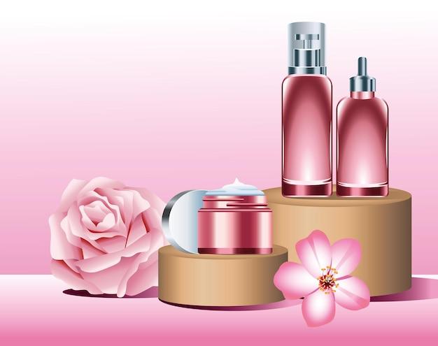 Prodotti per la cura della pelle in vaso e bottiglia rosa nella fase dorata con illustrazione di fiori