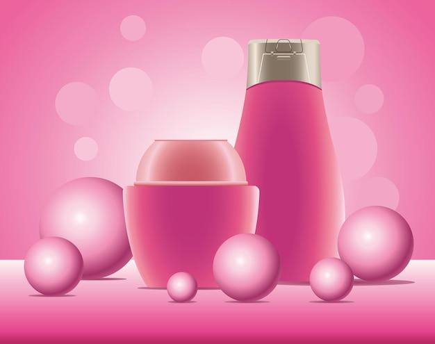 Illustrazione delle icone dei prodotti rosa della bottiglia e del vaso di cura della pelle