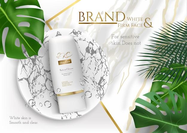 Annunci di prodotti per la cura della pelle con foglie tropicali su sfondo di pietra di marmo in illustrazione di mockup