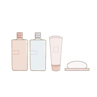 Prodotti per la cura della pelle da viaggio. su uno sfondo bianco.