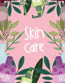 Prodotti per la cura della pelle con fiori e scritte