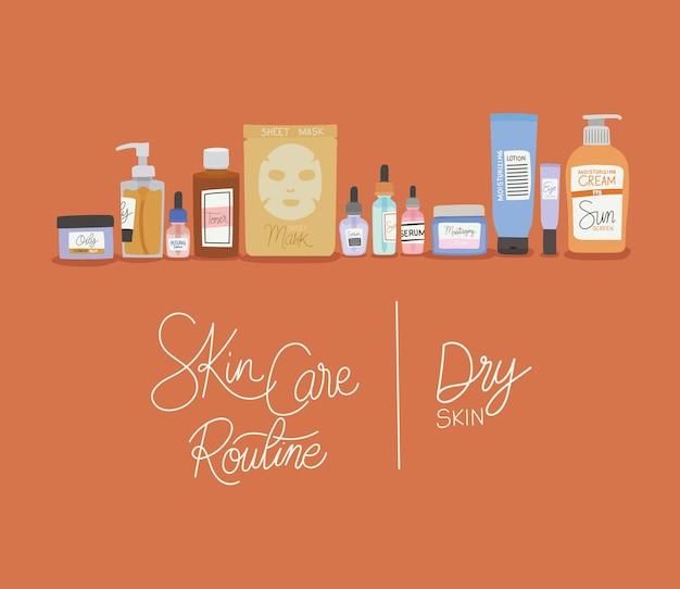 Illustrazione di lettering rutine per la cura della pelle e pelle secca