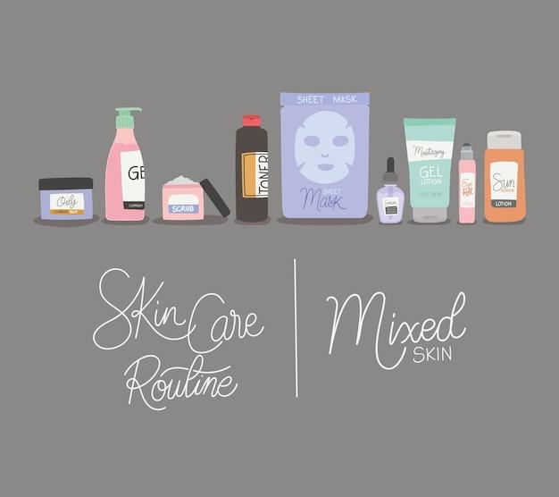 Illustrazione di lettere di pelle mista e rutina per la cura della pelle