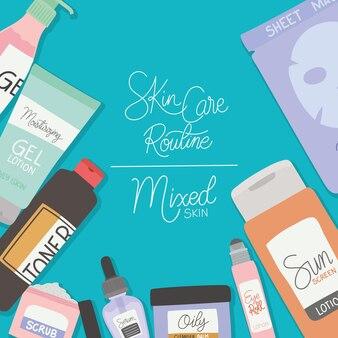 Rutine per la cura della pelle e scritte in pelle mista su illustrazione blu chiaro