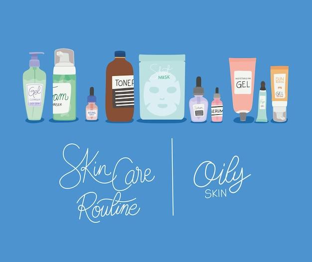 Illustrazione di lettere di pelle grassa e rutina per la cura della pelle