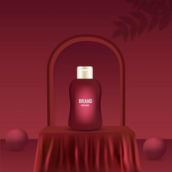 Pubblicità del set per la cura della pelle con bottiglia di crema sul palco, panno di seta del podio quadrato rosso