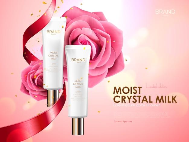 Set per la cura della pelle con nastro e rose isolate sul rosa