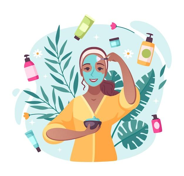 Composizione di cartoni animati per prodotti di bellezza per la cura della pelle con creme lozioni idratanti che girano intorno all'applicazione dell'illustrazione della ragazza della maschera per il viso