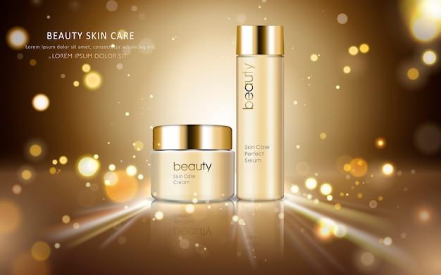 Annunci cosmetici per la cura della pelle con confezione in bottiglia lucida