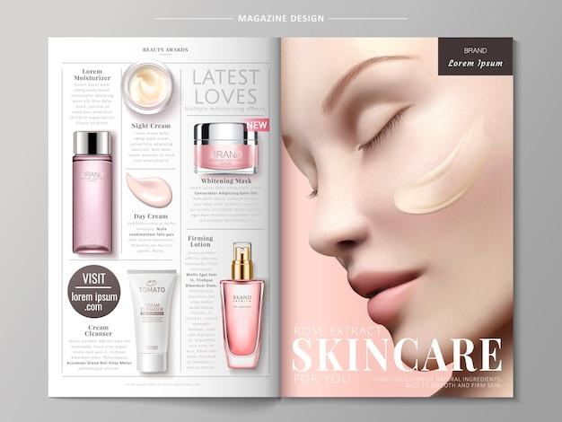 Illustrazione di annunci rivista di cura della pelle