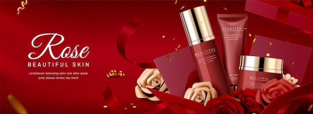Banner pubblicitari di prodotti per la cura della pelle con decorazione di rose di carta in confezione regalo rossa, illustrazione 3d