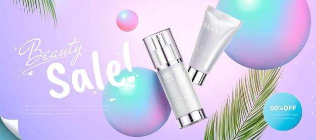 Banner di prodotti per la cura della pelle con elementi di sfere olografiche in stile 3d