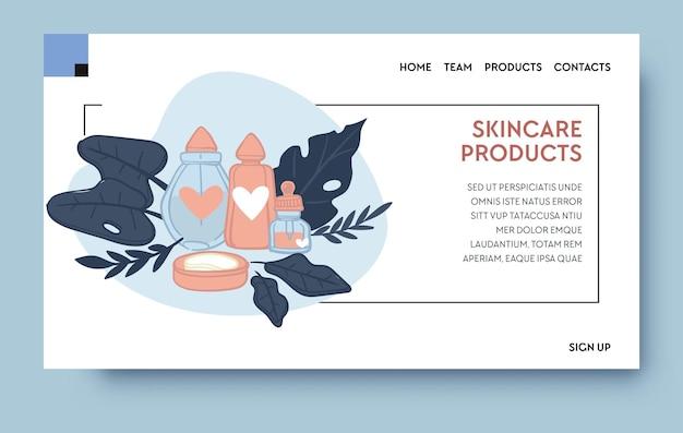 Set di prodotti per la cura della pelle, lozioni e gel per il viso