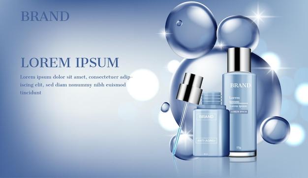 Prodotti per la cura della pelle con il contagocce sulle bolle d'acqua lucide