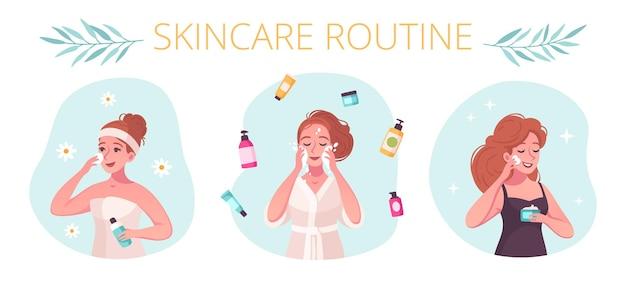Skincare routine 3 composizioni di cartoni animati con donna che utilizza un detergente viso