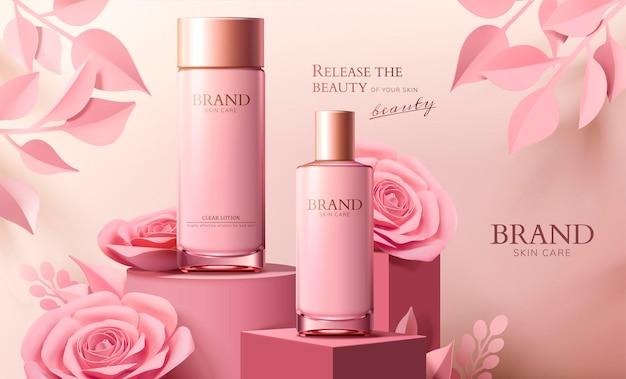 Banner di flacone spray per la cura della pelle con fiori di carta rosa sulla colonna in stile 3d