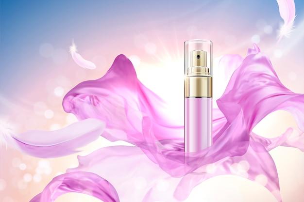 Flacone spray per la cura della pelle con intreccio in chiffon fucsia, sfondo luminoso