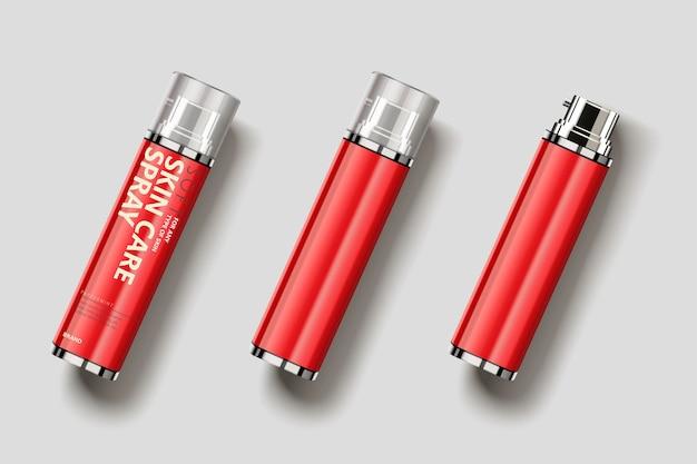 Design del pacchetto spray per la cura della pelle, vista dall'alto del flacone spray vuoto nell'illustrazione 3d