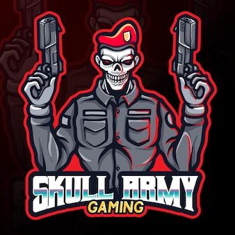 Esercito di teschio che tiene in mano pistole gioco esport logo illustrazione