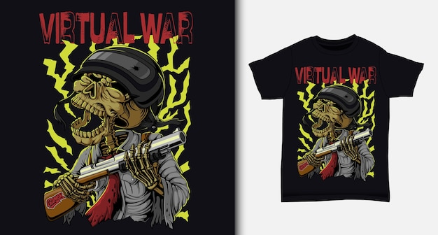 Esercito di teschi sulla guerra virtuale. con design t-shirt.