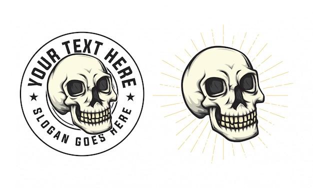 Teschio distintivo logo vintage