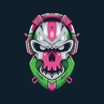 Skull bass music illustrazione e t-shirt design