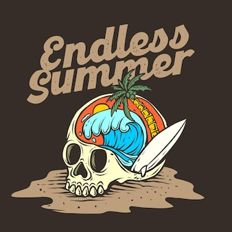 Illustrazione grafica di skull beach