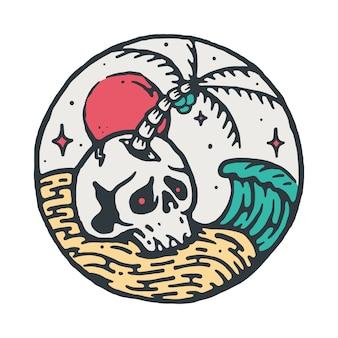 Illustrazione di skull beach