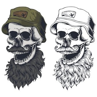 Illustrazione del cappello di usura dei baffi della barba del cranio