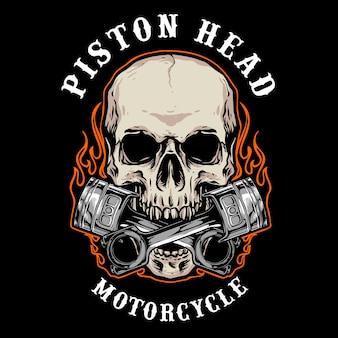 Del logo distintivo del motociclista del cranio