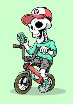 Illustrazione disegnata a mano di skull biker