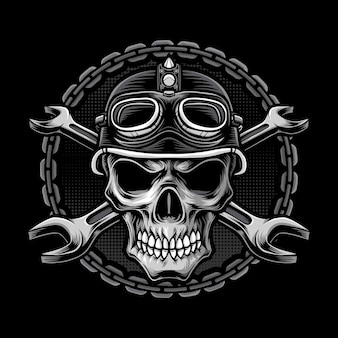 Logo della testa del motociclista del cranio