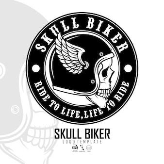 Modello di logo del motociclista del cranio pronto formato eps 10