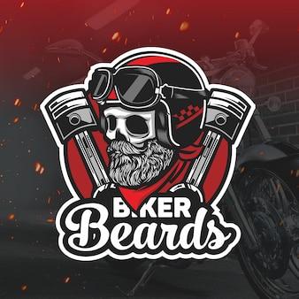 Motociclista teschio con barba mascotte logo esport