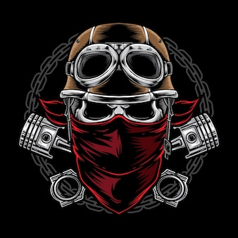 Motociclista del cranio con il casco isolato sul nero