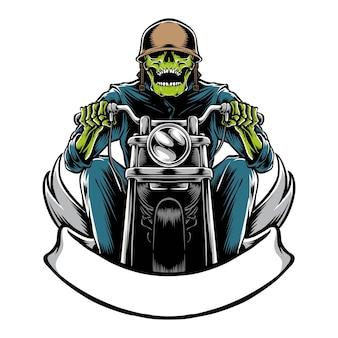Motociclista teschio con moto isolato su bianco
