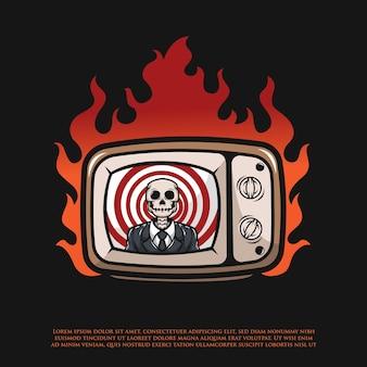 Notizie in onda sul teschio in televisione