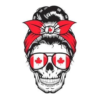 Mamma canadese del cranio. design della fascia canada su sfondo bianco. halloween. loghi o icone della testa del cranio. illustrazione vettoriale.