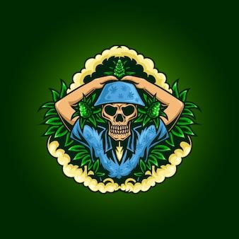 Illustrazione di amante della cannabis teschio