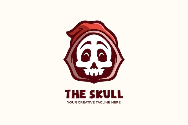 Il modello di logo del personaggio della mascotte dei cartoni animati del teschio