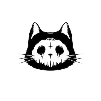 Skull cat halloween design