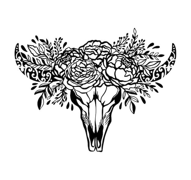 Concetto floreale dell'illustrazione della rosa del fiore della mucca del cranio