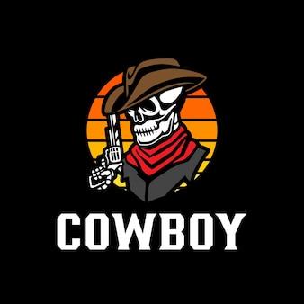 Modello di logo del cowboy del teschio