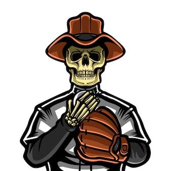 Teschio cowboy con cartone animato in maglia da baseball