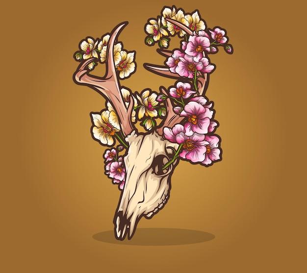 Teschio morto fiore ninfea cervo mortale