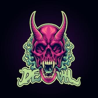 Illustrazione del diavolo del cranio