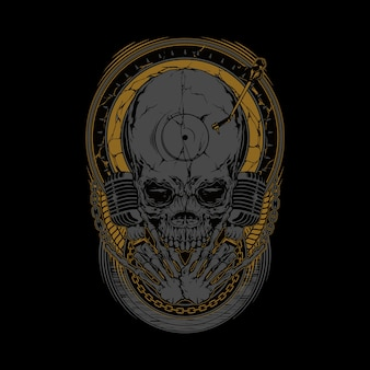 Skull disc jockey grafica illustrazione arte